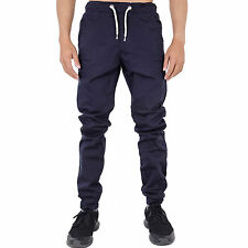 Mens Joggers Slim Fit Stretch Chinos Cuffed Jeans Black Blue Sand Grey by AD