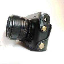 Black Leather Camera Bottom Case Half Cover For Fujifilm X-E2 X-E1 (XE2 XE1)