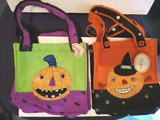 Halloween Kids Trick Or Treat Felt Handled Tote Bag Jack O'Lantern Design Lot/2