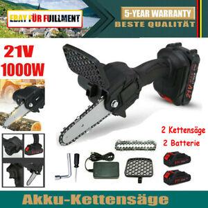 2X 1200W Kettensäge Akku Motorkettensäge Motorsäge Mini Einhandsäge mit 2 Akkus