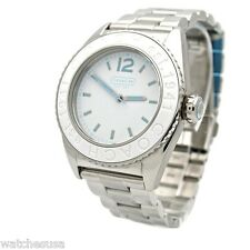 Coach Boyfriend Andee White Stainless Signature Ladies Watch 14501379 NWT