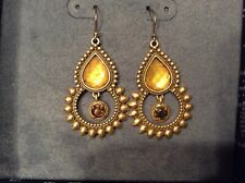 Lucky Brand Earrings, Dangle Style , Gold With Stones, NIB
