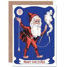 Christmas Xmas Merry Santa Spinning Wool Present Blank Greeting Card