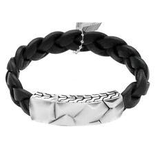 John Hardy BM99394BLXM Sterling Silver Black Leather Men's Bracelet M Size