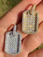 "Solid 925 Silver Men's Dog Tag Pendant Iced Baguette Diamond 1.5"" Gold Hip Hop"