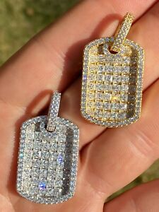 "Solid 925 Silver Men's Dog Tag Pendant Iced Baguette Diamond 1.5"" Gold Hip Hop"