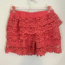 Olsenboye layered lace shorts womens size medium coral elastic waist