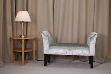 Small Settle in a Bling Silver Fabric with Black Hardwood Legs