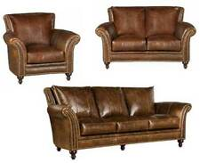 3 Piece Set Traditional Gordon Genuine Leather Sofa Set With Nailhead Trim
