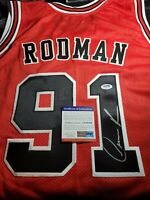 DENNIS RODMAN #91CHICAGO BULLS RED AUTOGRAPHED SIGNED PSA/DNA 91 JERSEY AUTO!