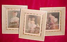 Vtg Lot 3 Set 1957 Growing up Ballerina Girl and Dog Print Pictures Litho Framed