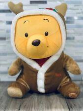 "DISNEY Winnie The Pooh Bear dressed as Reindeer Hood Plush Doll Christmas 13"""