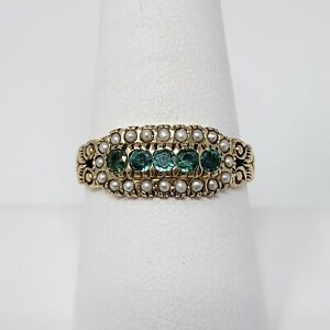 Vintage Solid 14k Yellow Gold Synthetic Emerald & Seed Pearl Ring Size 8.25 - 3g