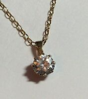 Stunning Ladies Vintage 9Ct Gold White Stone Solitaire Pendant On 9Ct Gold Chain