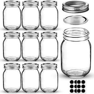 Mason Jars 16 OZ, Glass Regular Mouth Canning Jars w/ Metal Lids & Bands 10 Pack