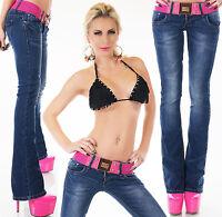 Women's Bootcut Denim Jeans + Belt - S/M/L