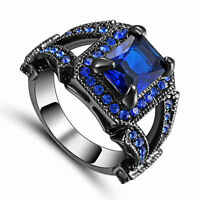 Trendy Size 7 Men's Women's Blue Sapphire Black Rhodium Plated Engagement Ring