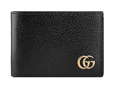 Authentic Gucci Animalier Black Leather Wallet GG Marmont Detail Bifold Purse