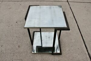 Vintage MCM Mercury Antique Glass Mirrored Table Stand Hollywood Regency