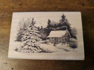 "Inkadinkado Wood Rubber Stamp - Snowy Winter Cabin 2.75"" x 4""."