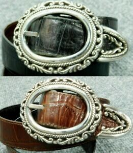 BRIGHTON Belt Reversible Black Brown Leather Croc Silver Concha Womens M 36200