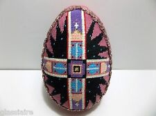 """Vintage Hand Made Egg Tapestry Silk Sequins Pink Church 5.75"""" Easter"""