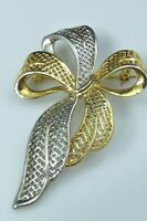 Vintage Bow Ribbon Brooch Pin Two Toned Gold Silver Cut Out Detail Design