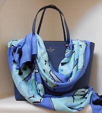 "NWT Kate Spade Seahorse Oblong Scarf  30"" x 80"" Adventure Blue Multi NEW $98"