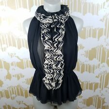 Robert Rodriguez Neiman Marcus Medium Black Nude Lace High Neck Blouse Career