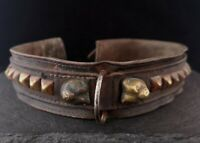 Antique Victorian dog collar, leather and brass, brass dog heads