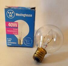 Westinghouse 03863 Clear 40W Lamp Light Bulb Candelabra Base G-12-1/2 120V