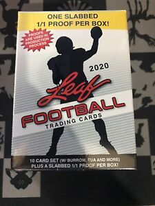 2020 Leaf Football blaster box Factory Sealed 10 cards with 1/1 Burrow, Tua RC