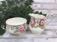 Sugar Bowl & Creamer Pitcher Bouquet Bone China Vintage Royal Albert England