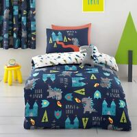 Cosatto Dragon Kingdom Castle 100% Cotton Reversible Duvet Cover Set Single Blue
