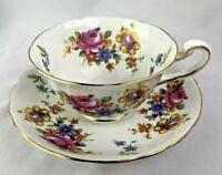 Vintage Royal Chelsea Vintage tea cup & Saucer Colorful Floral  English Bone Chi