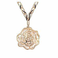18K Gold GP SWAROVSKI Element Crystal Flower Pendant Necklace Gold