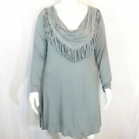 HSN DG2 by Diane Gilman Plus Size 1X Gray Long Sleeve Fringe Cowl Neck Dress