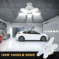 E27 5-Leaves Deformable LED Garage Light Bulb Ceiling Fixture Lamp 10000LM 6500K