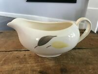 Vtg MCM Ivory Pottery Gravy Boat Pitcher Gray Yellow Leaves Mid Century Dining