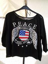 T-shirt manches longues fille 16 ans noir peace and love drapeau ailes américain