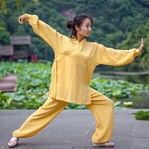 Chinese Style Kungfu Taichi Training Clothes Flax Long sleeve Pants Pure Color