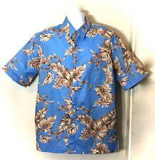 West Marine Mens Blue Hawaiian Tiki Hibiscus Cigar Camp Shirt Palm Print SZ XL