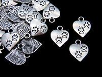 15 Pcs 17mm Tibetan Silver Paw Print Heart Pendants Charms Jewellery Beading M16