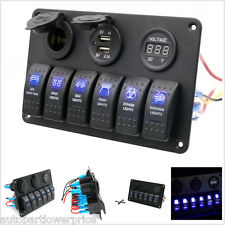 6 Gang Rocker Switch Control Panel RV Boat Marine Waterproof 12V Circuit Breaker
