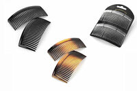 Two Piece Hair Comb Set Side Combs Slides Grips Black Clear Tortoiseshell 9.5cm