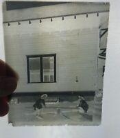 2 Antique Glass Negative Plates Photographs Children SeeSaw Rowboat Vintage