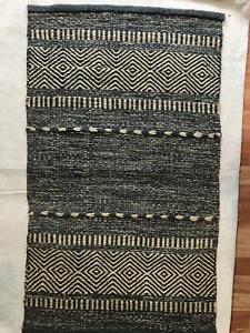 Wool Jute Rug Wool Hand Vintage Area Handmade X Ft Authentic X Indian X Boho Rug