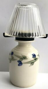 "Votive Tea Light Blue Flowers Green Stems Pottery Jug Glass Shade 7"" Signed"