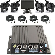 """4Ch Car Bus Mobile DVR Recorder SD+ IR Night Camera + 4 Cable+ 7"""" LCD Screen Kit"""