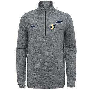 Nike NBA Youth 8-20 Utah Jazz Space Dye Heathered Grey 1/4 Zip Element Pullover